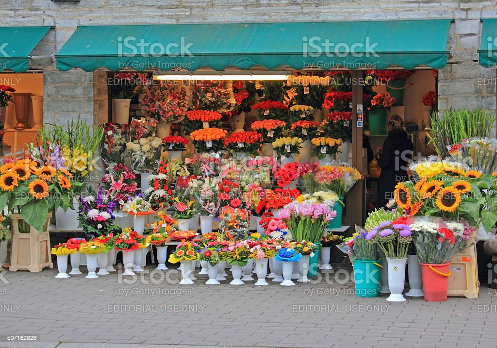 Flower shop stock photo