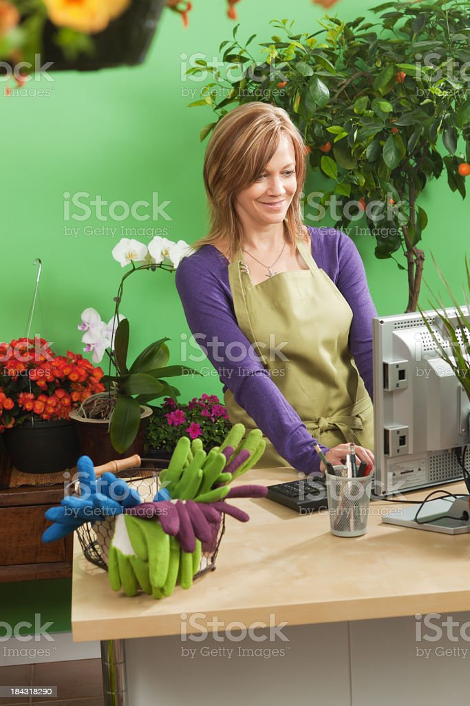 Flower Shop Sales Person Working In Retail Cashier Job Stock Photo ...