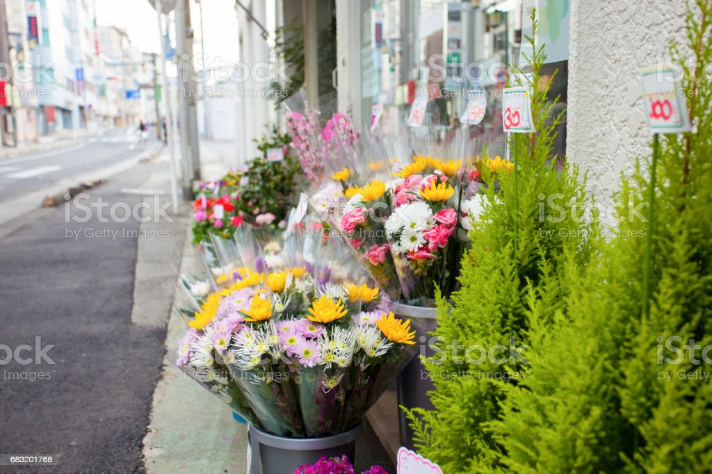flower Shop ,  show flowers on Sidewalk . royalty-free 스톡 사진