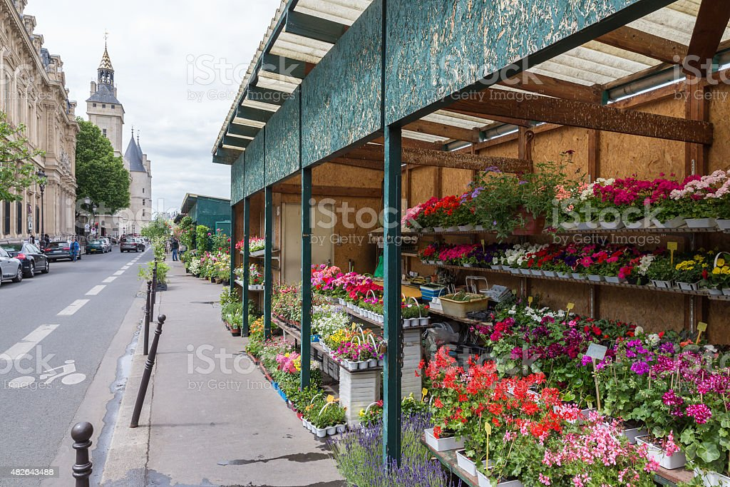 Flower stall along Seine river in Paris stock photo
