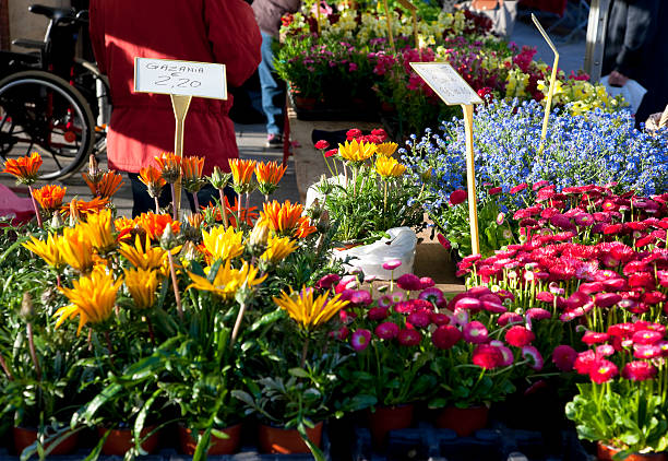 Flower stall at Les Halles Market in Dijon, France stock photo