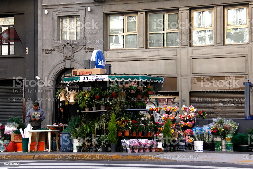 flower stall in Buenos Aires stock photo