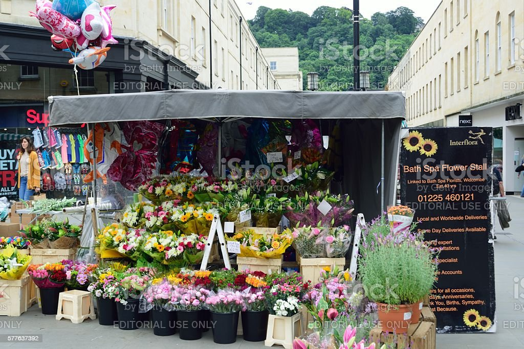 7f266f66d76c Flower Stall In Centre Of Bath Shopping Area Stock Photo - Download ...