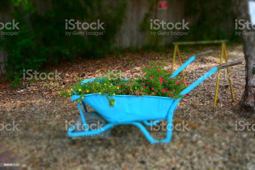 Flower stand in a wheelbarrow - Стоковые фото Без людей роялти-фри