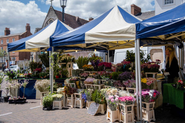 Flower Stand in Stratford-upon-Avon stock photo