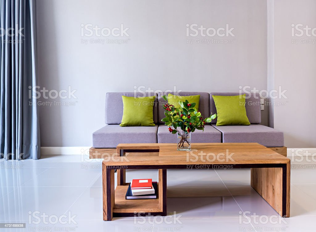 Flower Vase On Tabletop With Sofa Modern Interior Living Room Stock