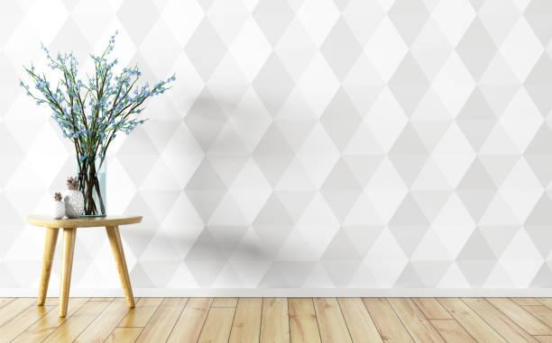 blomvas över vita paneler vägg interiör bakgrunden 3d-rendering - flower bouquet blue and white bildbanksfoton och bilder