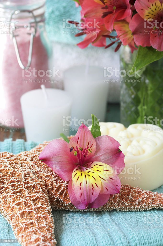 Flower with bath salts and soap royalty-free stock photo