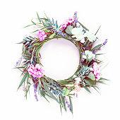 istock Flower wreath on background. 1167704153