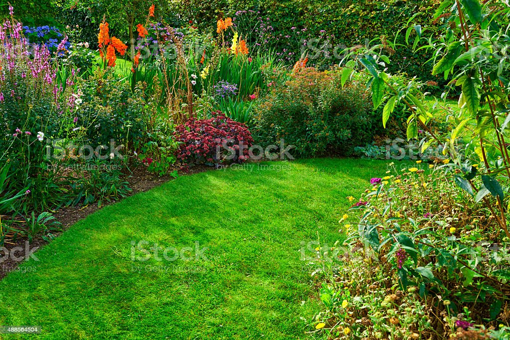 flowerbed and lawn stock photo