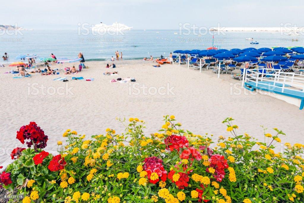 flowerbed on urban beach in Giardini Naxos stock photo