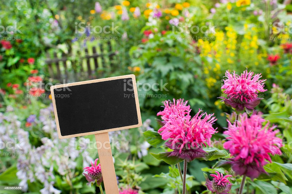 Flowerbed - sign - empty stock photo
