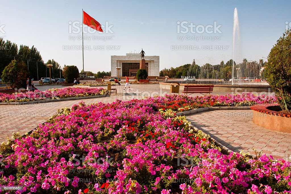 Flowerbeds at the city main square in Bishkek, Kyrgyzstan. stock photo