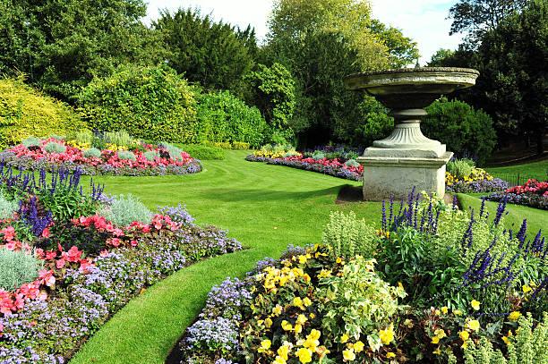 Flowerbeds in a Formal Garden stock photo