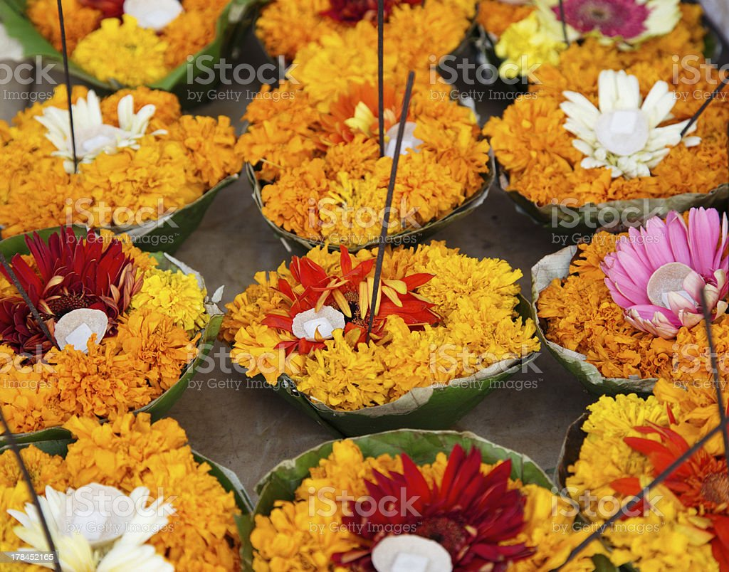 flower-devotional-offers-to-the-river-Ganges stock photo