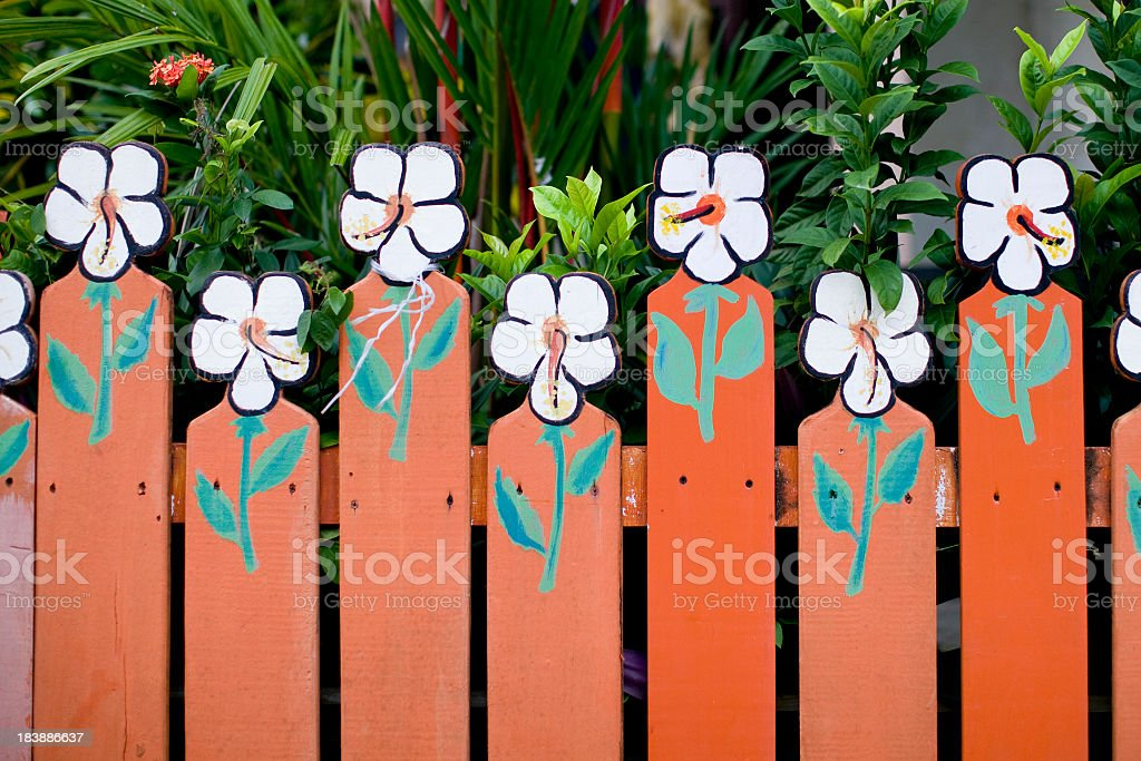 flowered fence royalty-free stock photo