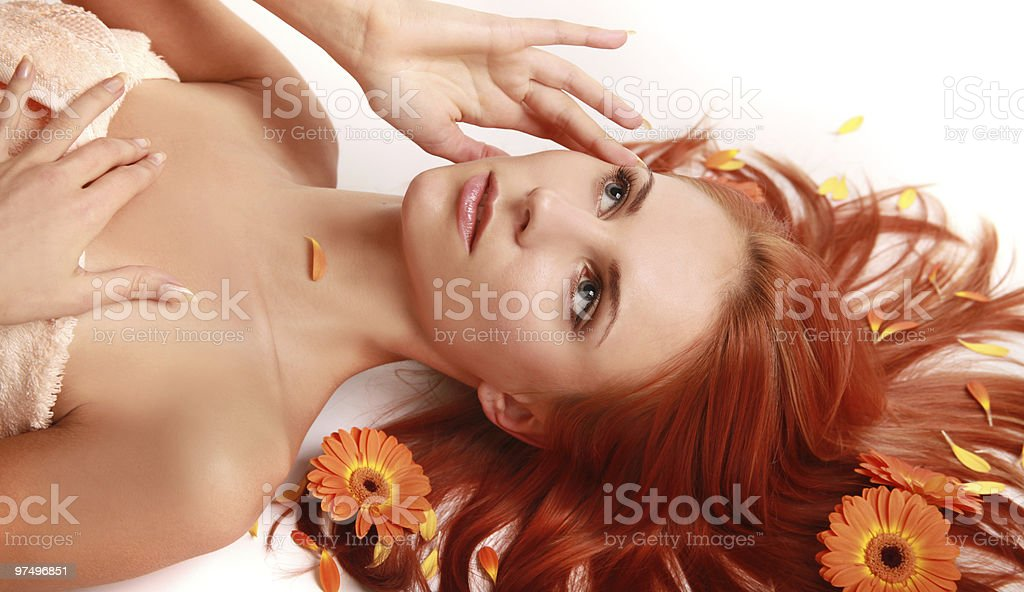 flowered hair royalty-free stock photo