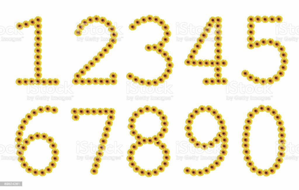 Flowered yellow numbers royalty-free stock photo