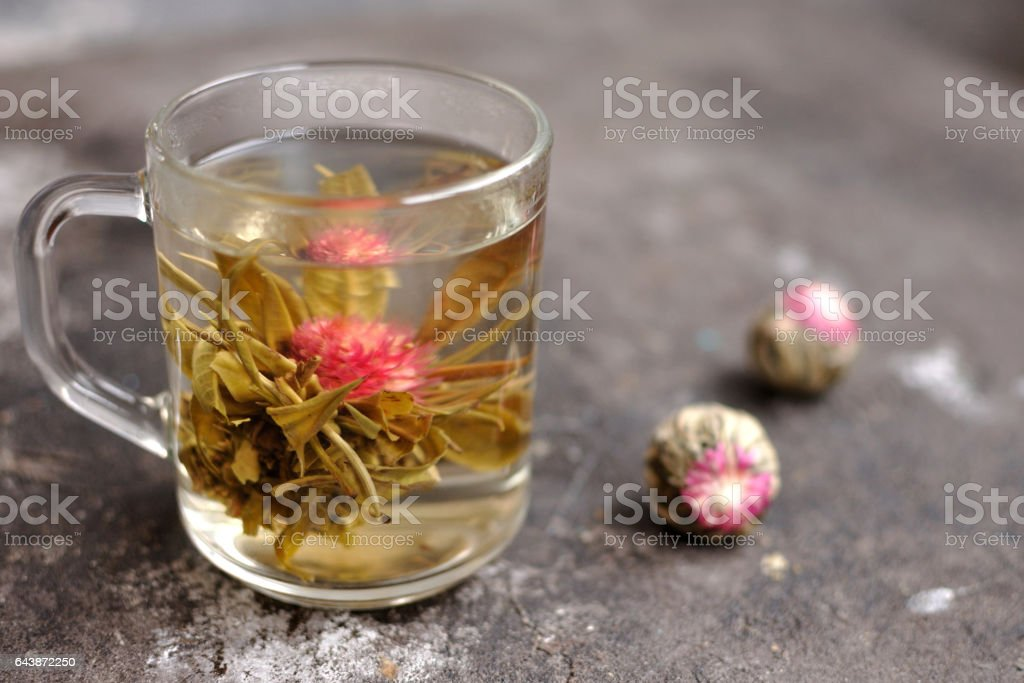 Flowering tea brewing in a glass cup stock photo