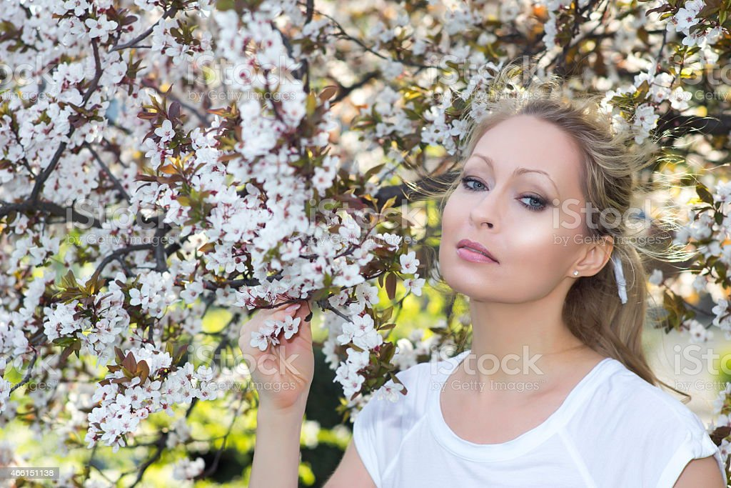 Flowering tree with blonde beauty stock photo