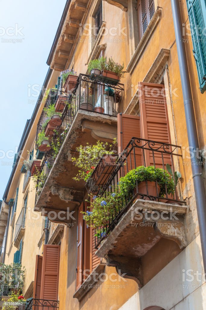 Flowering window boxing on various balconies stock photo