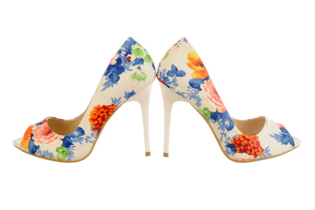 Flower-print high heel women shoes – zdjęcie