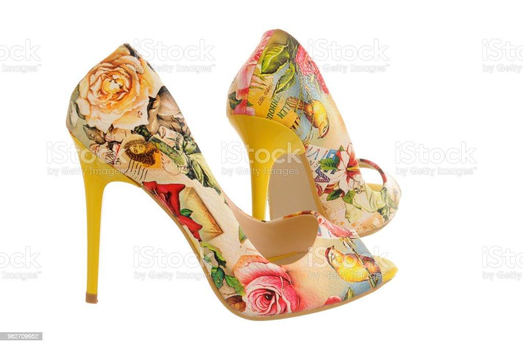 Flower-print high heel women shoes - Zbiór zdjęć royalty-free (Bez ludzi)
