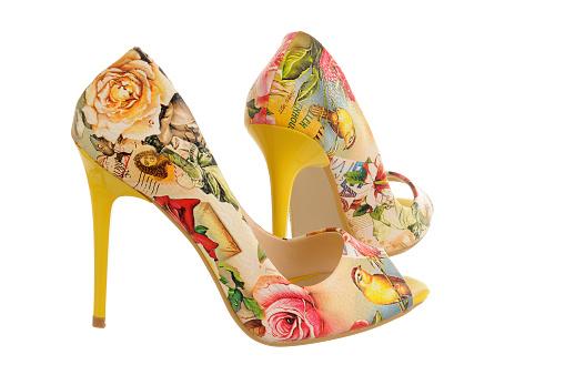 Flowerprint High Heel Women Shoes - zdjęcia stockowe i więcej obrazów Bez ludzi