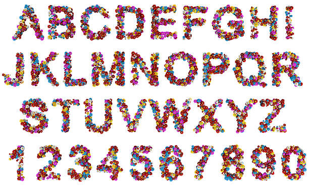flowers alphabet letters - the alphabet stock photos and pictures