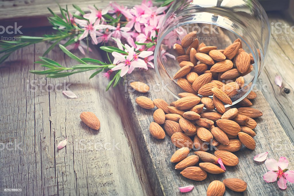 Flowers and almond nuts on a scattering - foto de acervo