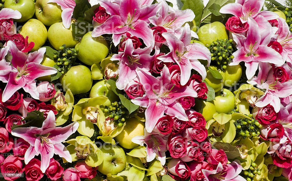 Flowers and apples arrangement royalty-free stock photo