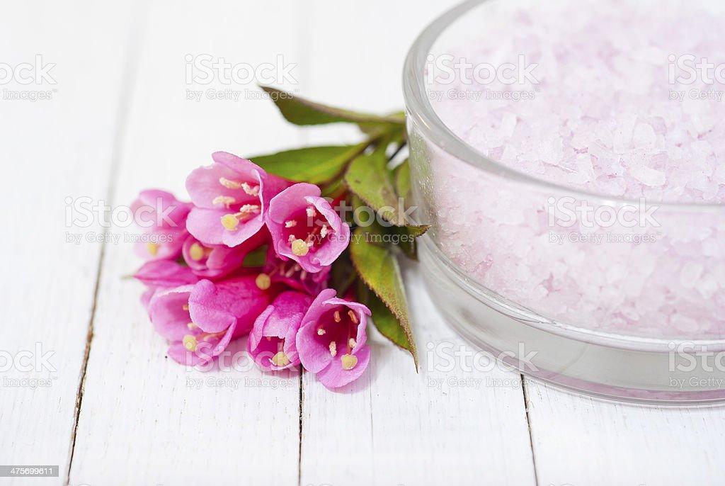 Flowers and bath salt royalty-free stock photo