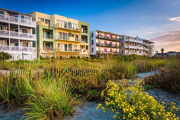 Flowers and beachfront buildings in Folly Beach, South Carolina. stock photo