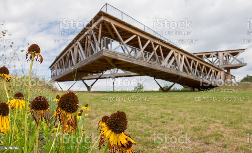 Flowers and Belvedere construction- Ehrenbreitstein plateau, Koblenz, Germany stock photo