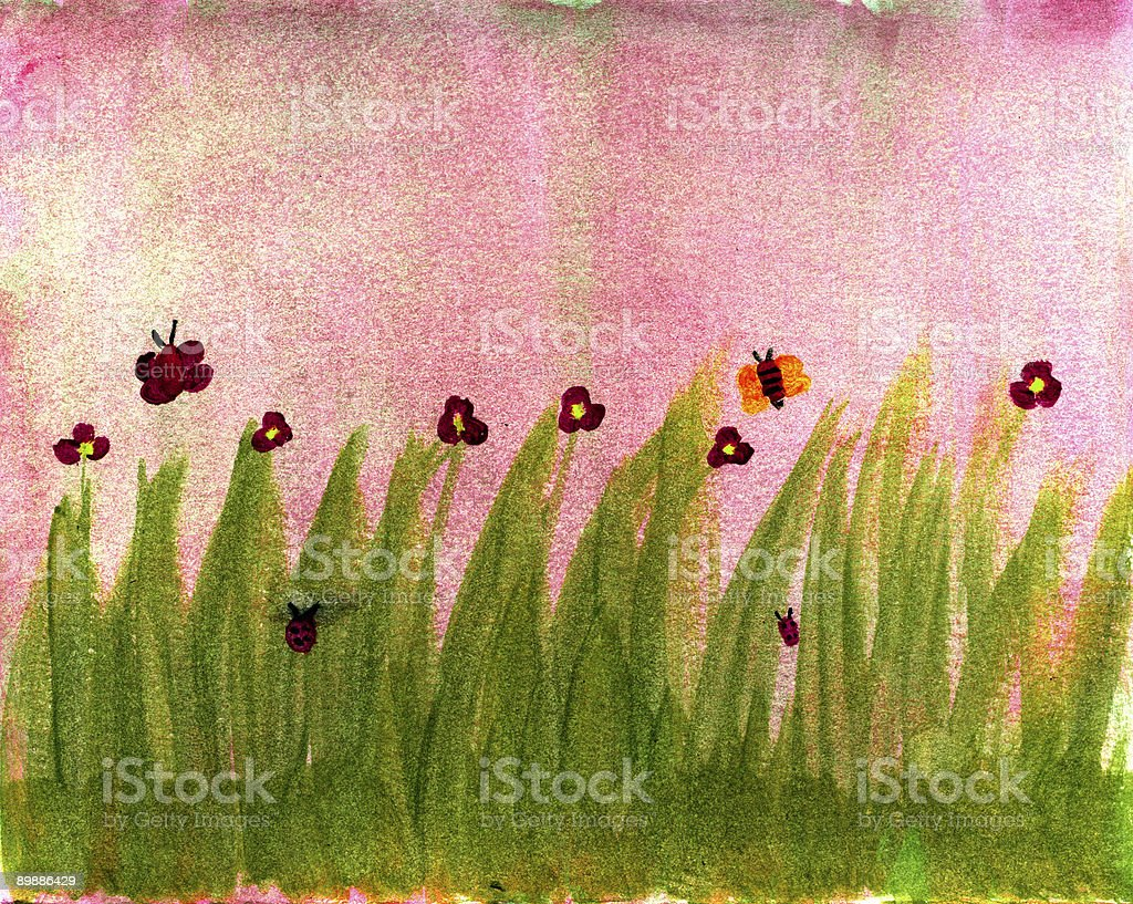 flowers and butterflies royalty-free stock photo