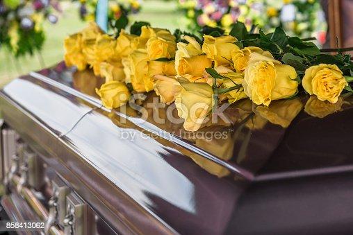 Casket in funeral service