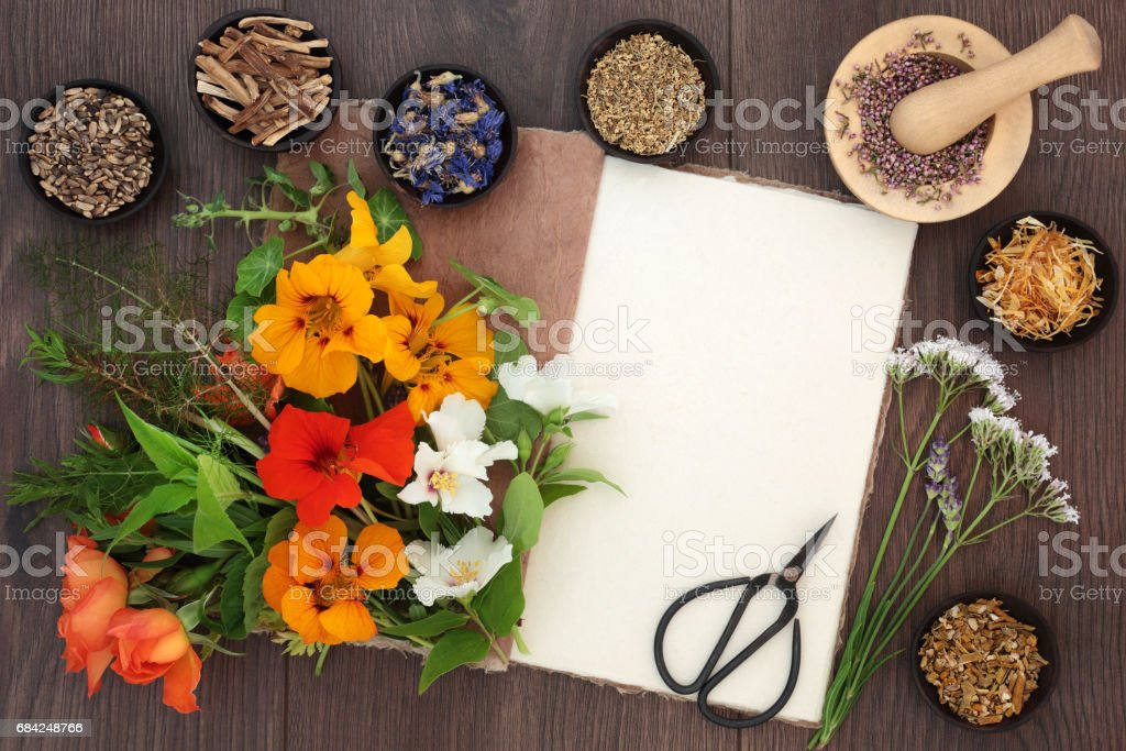 Flowers and Herbs for Healing royalty-free stock photo