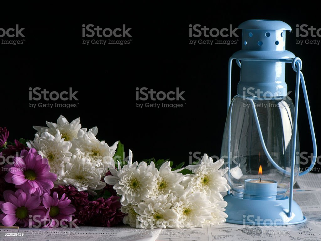 Flowers and Lantern stock photo