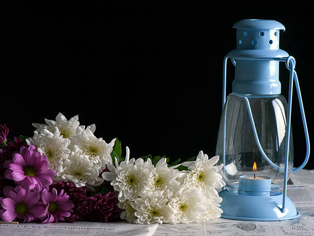 Flowers and Lantern stock photo
