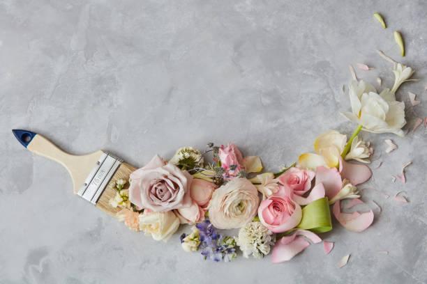 Blumen und Pinsel – Foto