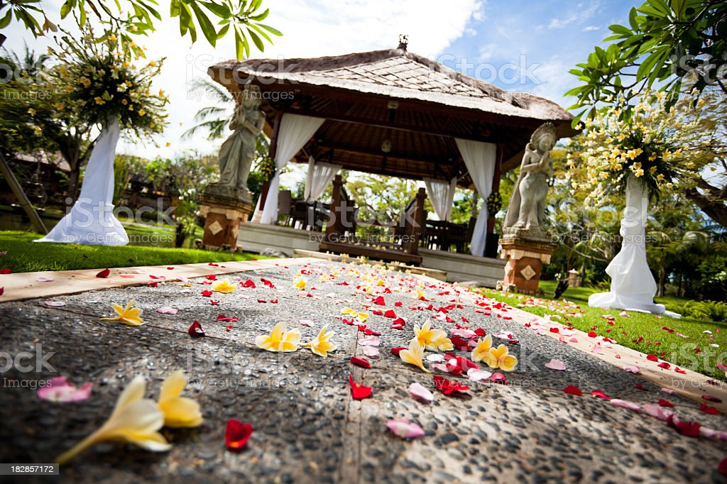flowers and path to wedding gazebo royalty-free stock photo