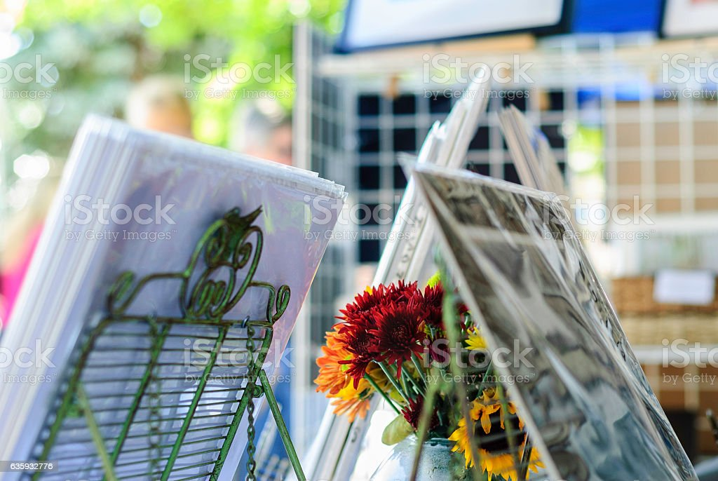 Flowers and photographs stock photo
