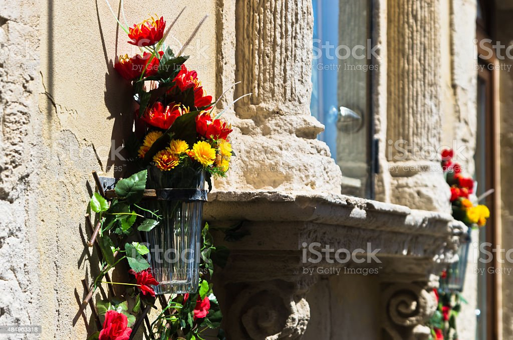 Flowers and stone,detail from street of Ortigia,Syracuse,Sicily stock photo