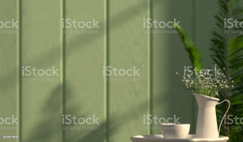 Blumen Sind In Einer Weißen Vase Auf Dem Tisch 3d Rendering