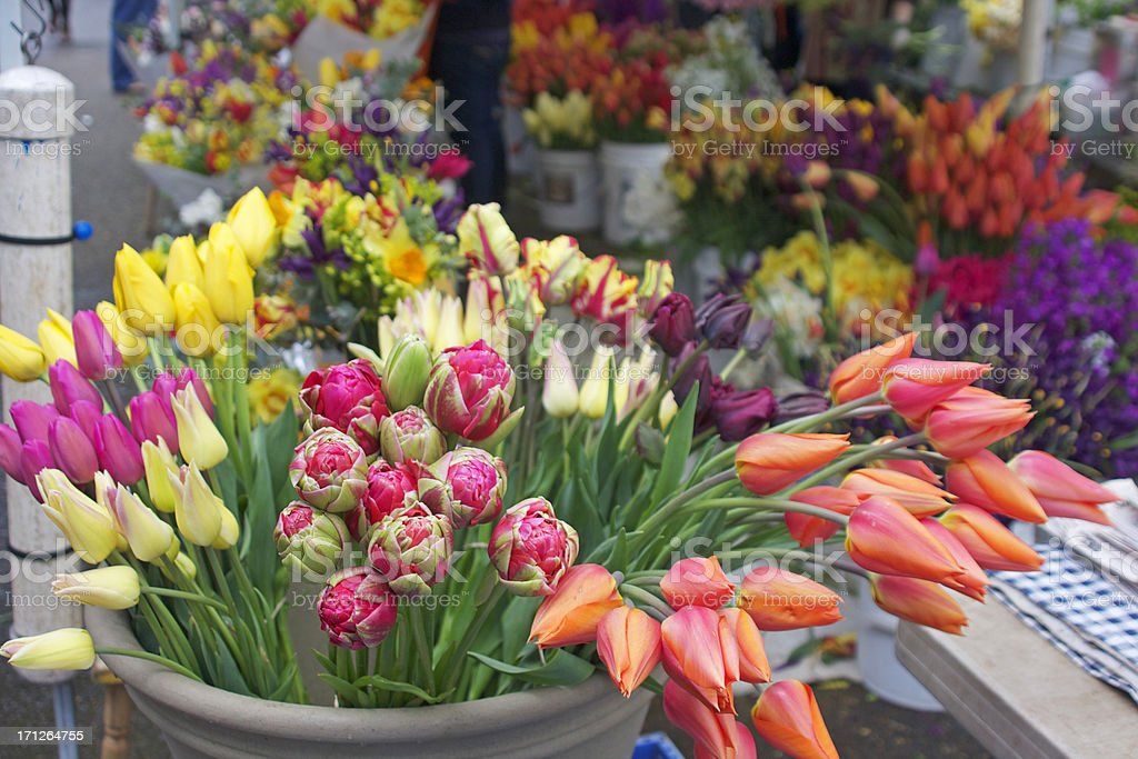Flowers at an outdoor flower market stock photo