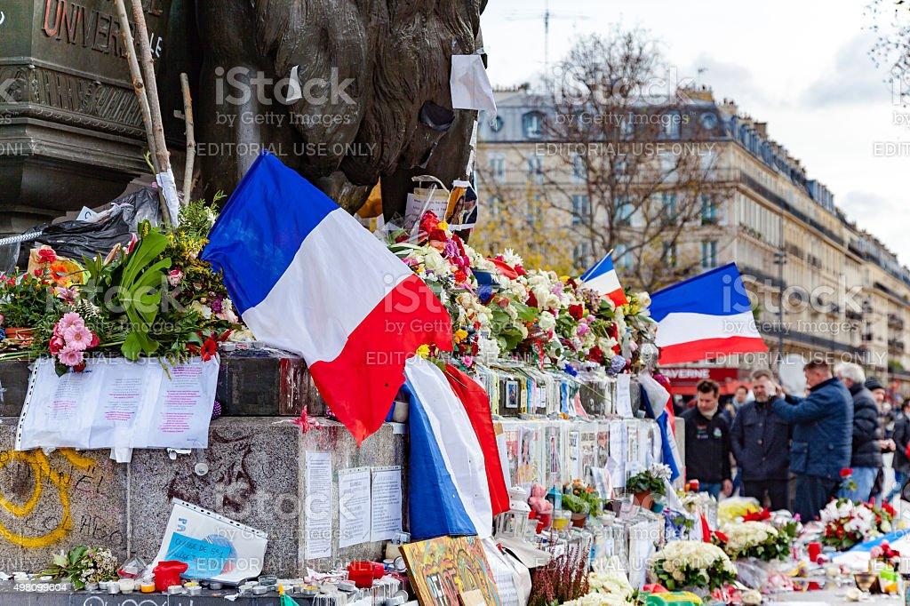 Flowers at Place de la République stock photo