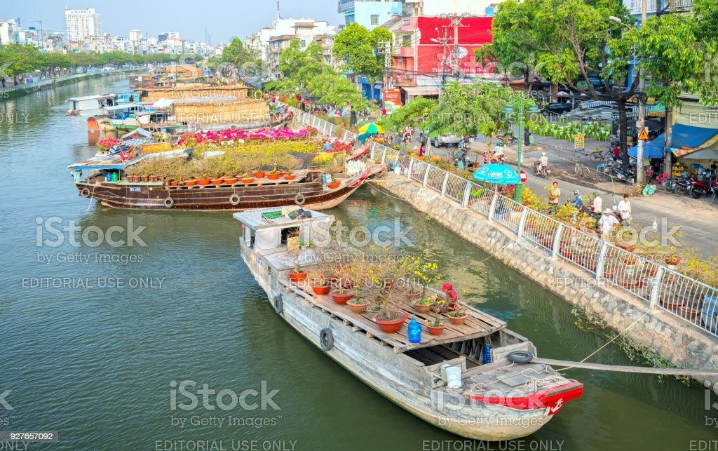 Flowers at the flower market along the canal wharf. royalty-free stock photo