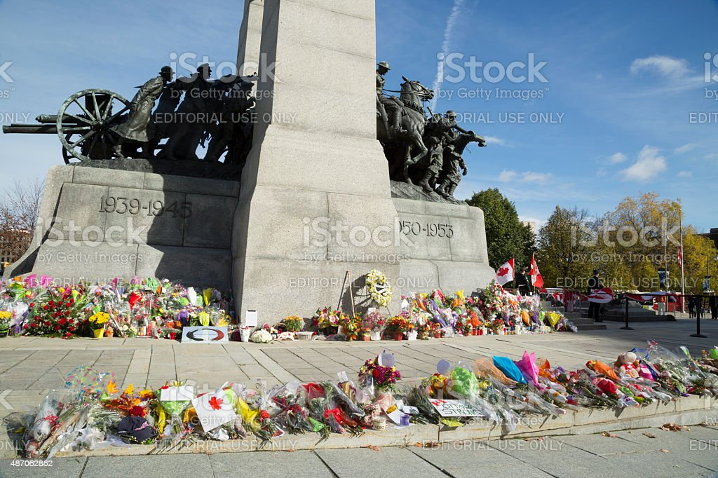 Flowers at the Ottawa Cenotaph stock photo