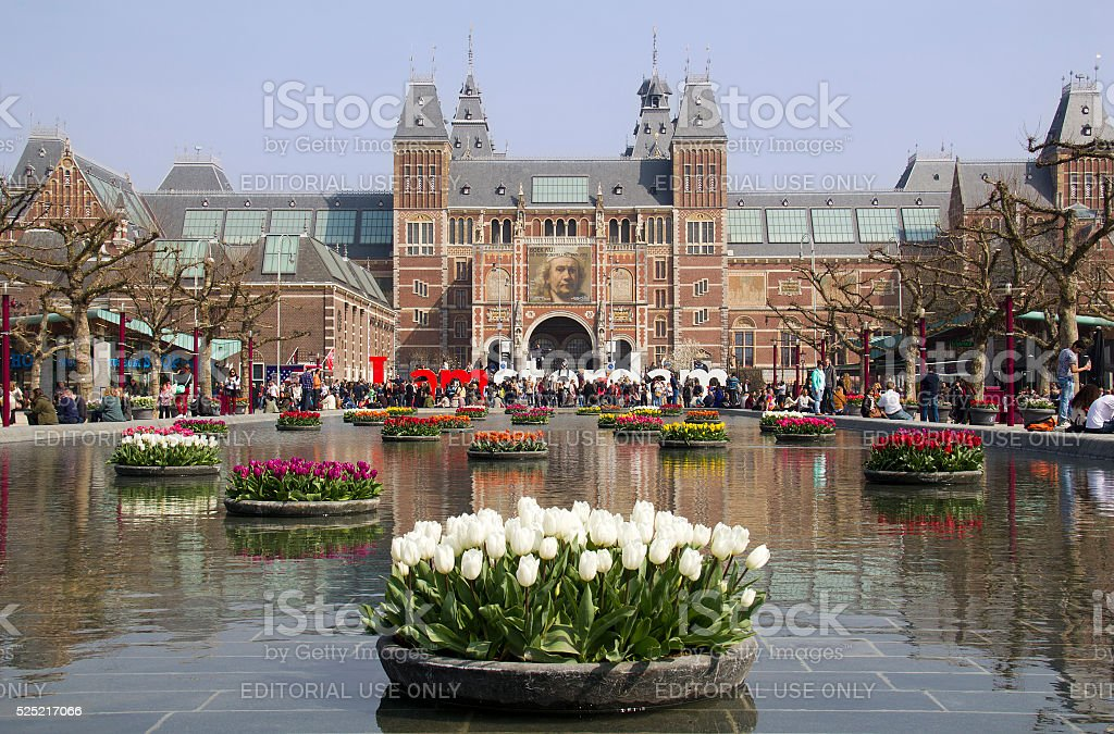 Flowers at the Rijksmuseum in Amsterdam, Holland stock photo