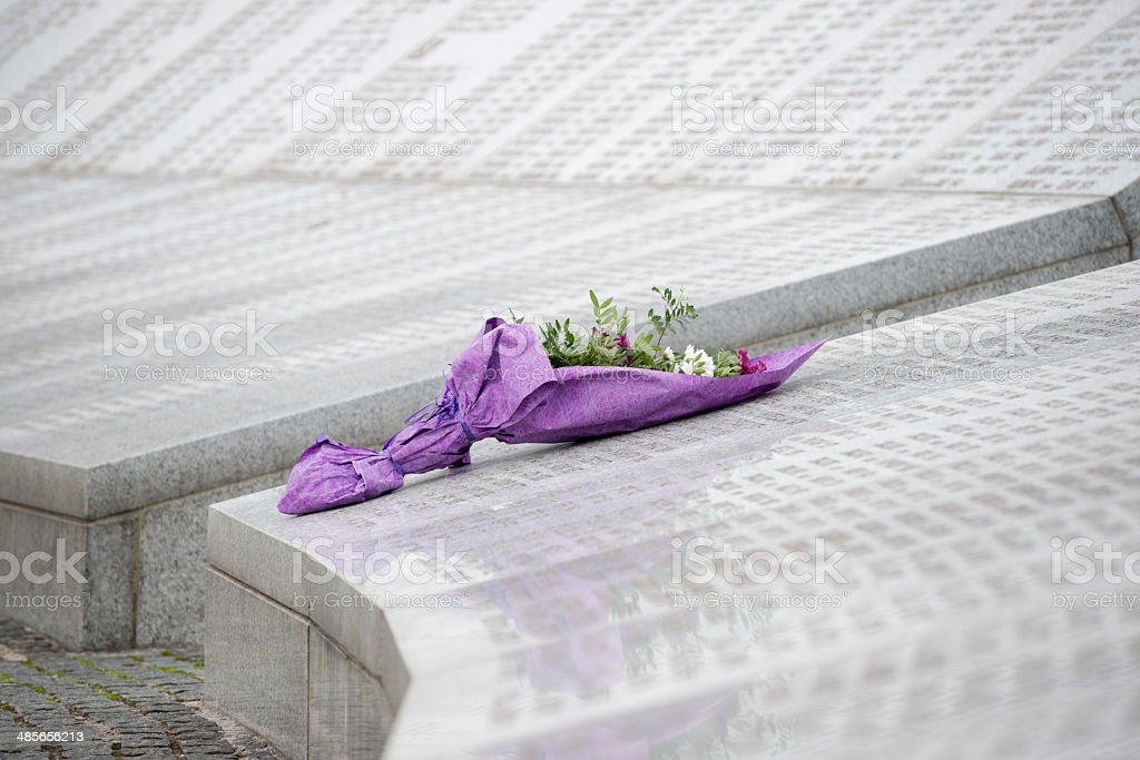 Flowers at the Srebrenica Genocide Memorial stock photo